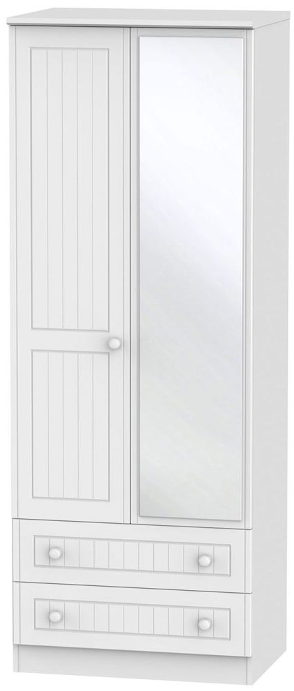 Warwick White 2 Door Tall Mirror Combi Wardrobe