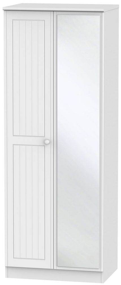 Warwick White 2 Door Tall Mirror Wardrobe