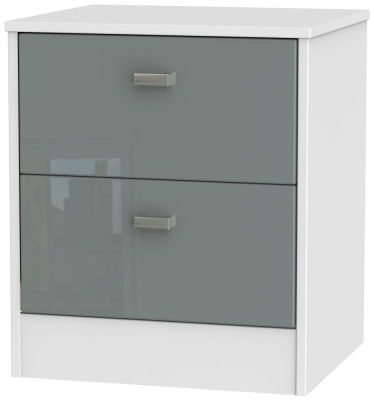 Clearance - Dubai High Gloss Grey and White 2 Drawer Bedside Cabinet - New - A-149