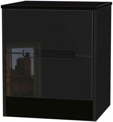 Clearance - Monaco High Gloss Black 2 Drawer Bedside Cabinet - New - A-119