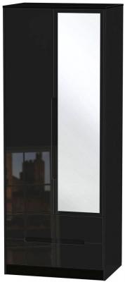 Clearance - Monaco High Gloss Black 2 Door Tall Combi Wardrobe - New - FS691