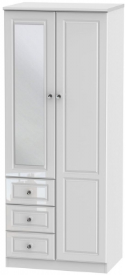 Clearance - Balmoral High Gloss White 2 Door 3 Drawer Wardrobe - New - FS1163