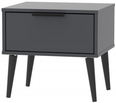 Clearance - Hong Kong Graphite 1 Drawer Bedside Cabinet with Wooden Legs - New - FS1222
