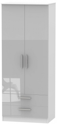 Clearance - Contrast 2 Door 2 Drawer Wardrobe - High Gloss Grey and White - New - P-87