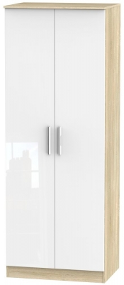 Clearance - Contrast 2 Door Wardrobe - High Gloss White and Bardolino - New - P-101