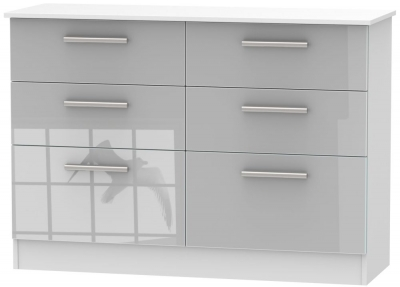 Clearance - Contrast 6 Drawer Midi Chest - High Gloss Grey and White - New - P-103