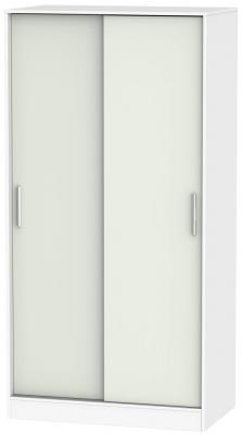 Clearance - Knightsbridge 2 Door Sliding Wardrobe - Kaschmir Matt and White - New - P-91