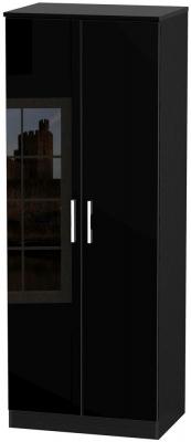 Clearance - Knightsbridge High Gloss Black 2 Door Tall Wardrobe - New - P-95