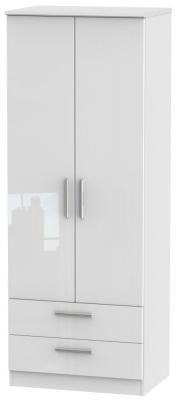 Clearance - Knightsbridge High Gloss White 2 Door 2 Drawer Tall Wardrobe - New - P-100