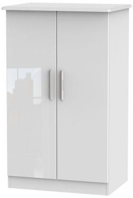 Clearance - Knightsbridge High Gloss White 2 Door Midi Wardrobe - New - P-89