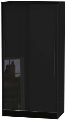 Clearance - Monaco High Gloss Black 2 Door Sliding Wardrobe - New - P-81