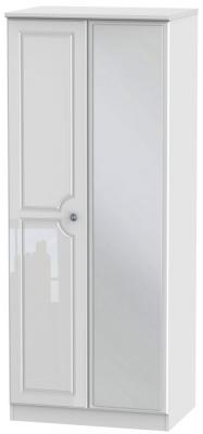 Clearance - Pembroke High Gloss White 2 Door Mirror Wardrobe - New - P-88
