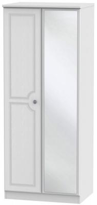 Clearance - Pembroke White 2 Door Mirror Wardrobe - New - P-99