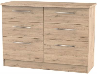 Clearance - Sherwood Bordeaux Oak 6 Drawer Midi Chest - New - P-109