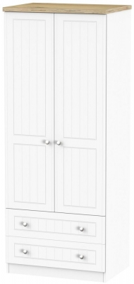 Clearance - Vienna Porcelain 2 Door 2 Drawer Wardrobe - New - P-79