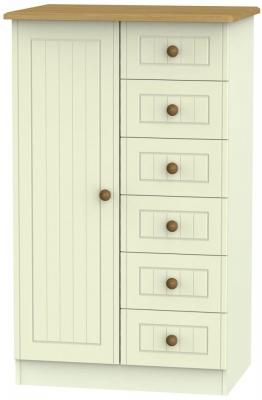 Clearance - Warwick Cream and Oak 1 Door Children Wardrobe - New - P-113