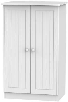 Clearance - Warwick White 2 Door Plain Midi Wardrobe - New - P-111