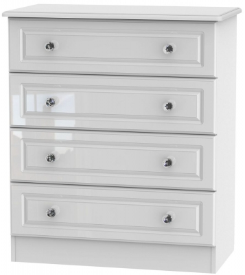 Clearance - Balmoral High Gloss White 4 Drawer Chest - New - E-829