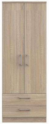 Clearance - Devon Bardolino 2 Door 2 Drawer Tall Wardrobe - New - P-94