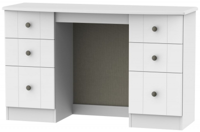 Clearance Kingston White Dressing Table - Knee Hole Double Pedestal - W13