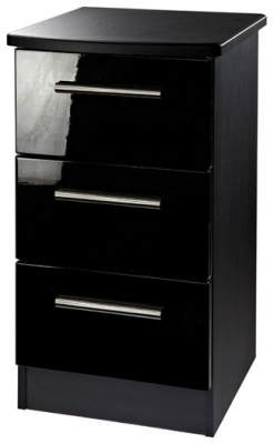 Clearance Knightsbridge Black High Gloss Bedside Cabinet - 3 Drawer