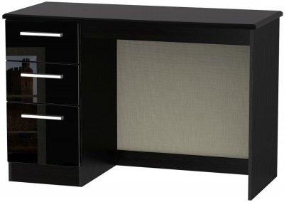 Clearance Knightsbridge Black High Gloss Desk - 3 Drawer