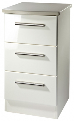 Clearance Knightsbridge Cream High Gloss Bedside Cabinet - 3 Drawer