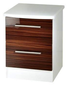 Clearance Knightsbridge Ebony and White Bedside Cabinet - 2 Drawer Locker - G386