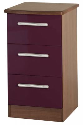 Clearance Knightsbridge High Gloss Aubergine and Oak Bedside Cabinet - 3 Drawer Locker - G343