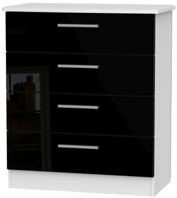 Clearance Knightsbridge High Gloss Black and White Chest of Drawer - 4 Drawer - G362