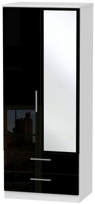 Clearance Knightsbridge High Gloss Black and White Wardrobe - 2ft 6in with 2 Drawer and Mirror - GW16