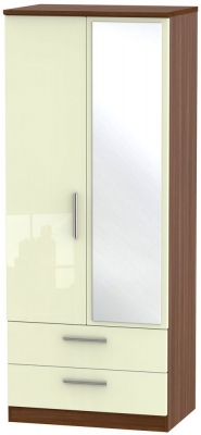 Clearance Knightsbridge High Gloss Cream and Noche Walnut Wardrobe - 2ft 6in with 2 Drawer and Mirror - GW12