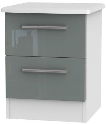 Clearance Knightsbridge High Gloss Grey and White Bedside Cabinet - 2 Drawer Locker - W3