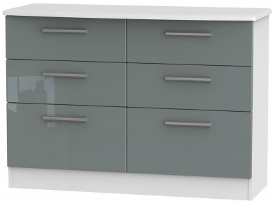 Clearance Knightsbridge High Gloss Grey and White Chest of Drawer - 6 Drawer Midi - W11