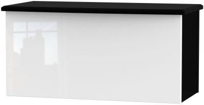 Clearance Knightsbridge High Gloss White and Black Blanket Box - G382