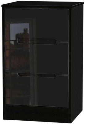 Clearance Monaco High Gloss Black Bedside Cabinet - 3 Drawer Locker - W19