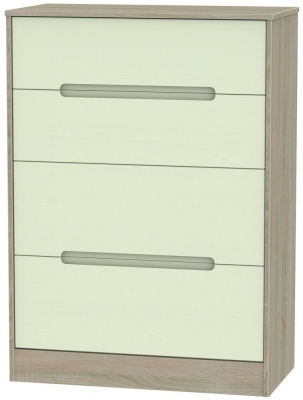 Clearance Monaco White with Bardolino Chest of Drawer - 4 Drawer Deep