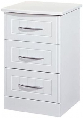 Clearance San Francisco Bay White Bedside Cabinet - 3 Drawer