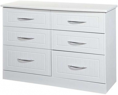 Clearance San Francisco Bay White Chest of Drawer - 6 Drawer Midi