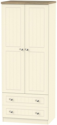 Clearance Vienna Cream Ash Wardrobe - 2ft 6in with 2 Drawer - GW7