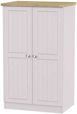 Clearance Vienna Kaschmir Ash with Bordeaux Oak Top Wardrobe - 2ft 6in with Plain Midi