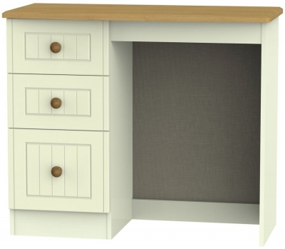 Clearance Warwick Cream and Oak Dressing Table - Vanity Knee Hole - G392