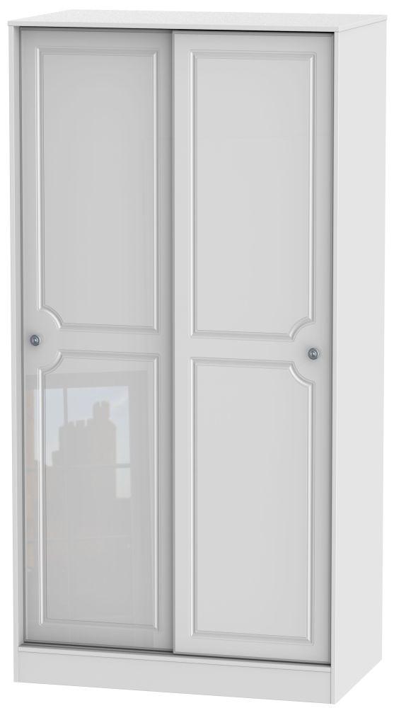 Clearance - Pembroke High Gloss White 2 Door Sliding Wardrobe - New - P-92