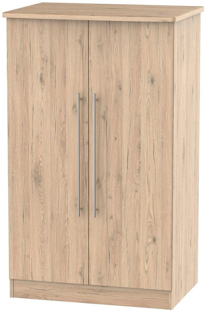 Clearance - Sherwood Bordeaux Oak 2 Door Midi Wardrobe - New - P-90