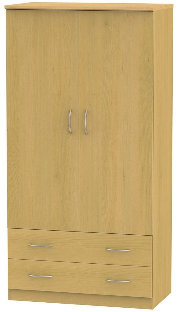 Clearance Avon Beech Wardrobe - 3ft with 2 Drawer - G414