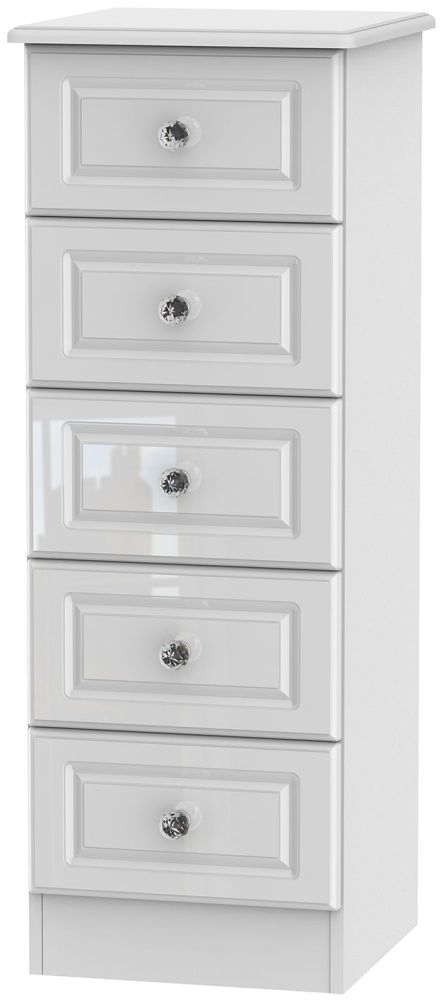 Clearance Balmoral White High Gloss Chest of Drawer - 5 Drawer Locker - A37