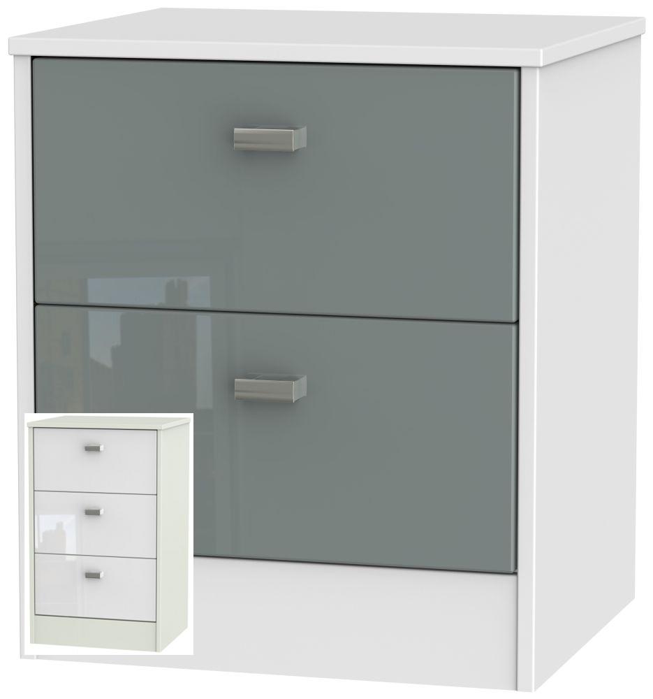 Clearance Dubai High Gloss White and Kaschmir Bedside Cabinet - 2 Drawer Locker - A20
