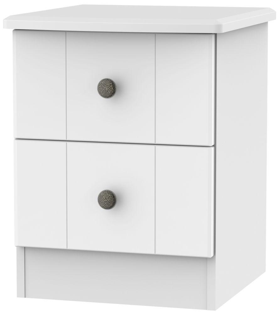 Clearance Kingston White Bedside Cabinet - 2 Drawer Locker - A19