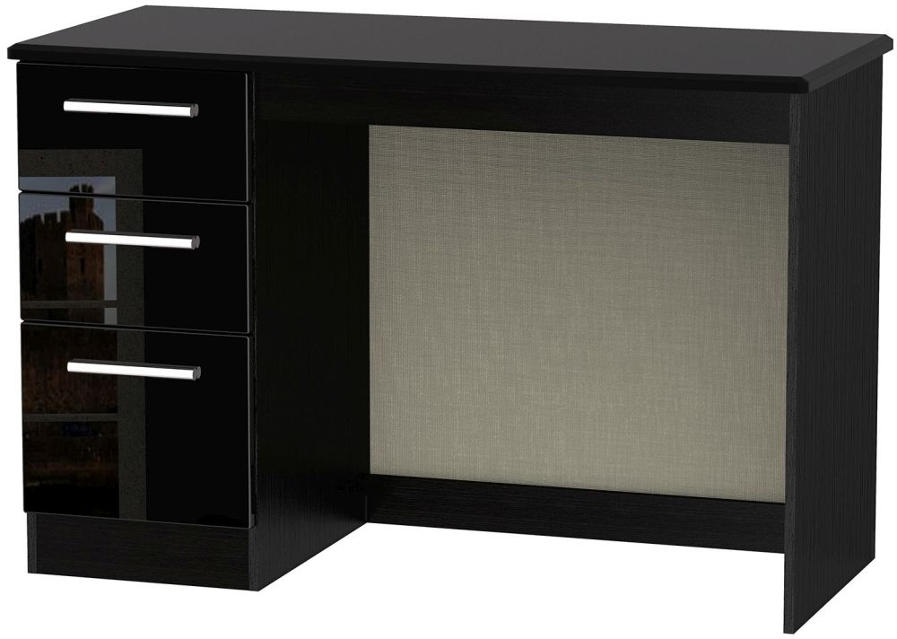 Clearance Knightsbridge Black High Gloss Desk - 3 Drawer