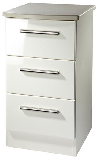 Clearance Knightsbridge Cream High Gloss Bedside Cabinet - 3 Drawer